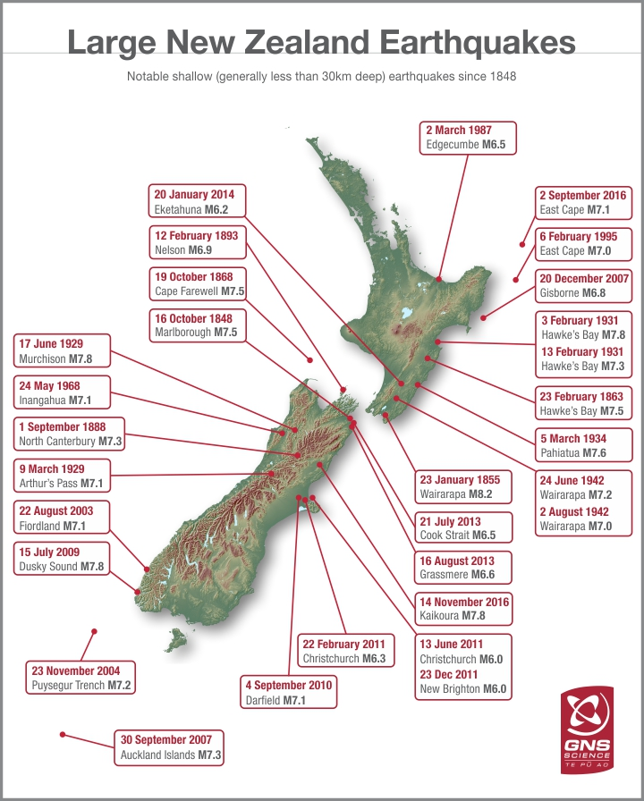 Where Is Christchurch New Zealand On The Map.Where Were Nzs Largest Earthquakes New Zealand Earthquakes