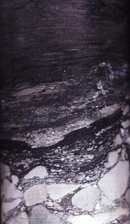 Image of a core sample containing breccia beneath coal, Rotowaro coalfield. Image from Julian Thomson.