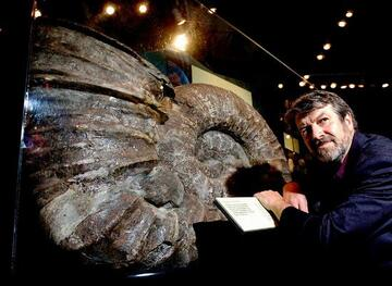 New Zealand's largest molluscan fossil, an ammonite, 1.5m in diameter which was extracted from Jurassic sedimentary rock.