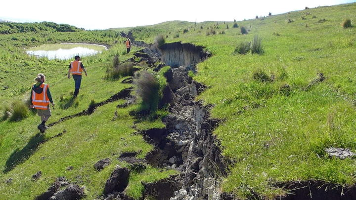The Kekerengu Fault which was one of 20-plus faults that ruptured in the magnitude 7.8 Kaikōura earthquake in November 2016.  Photo: Julian Thomson, GNS Science.