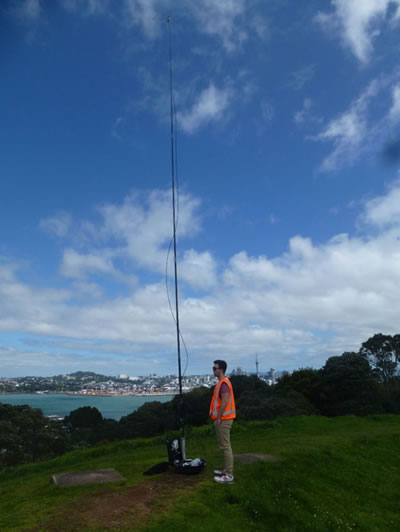 Sampling greenhouses gases downwind from Auckland City - Mt Victoria, Devonport, Auckland. © Jocelyn Turnbull