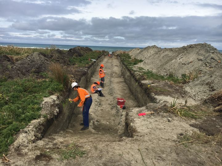 Earthquake geologists study the walls of a temporary trench on the coast north of Gisborne looking for evidence of past tsunamis and earthquakes.