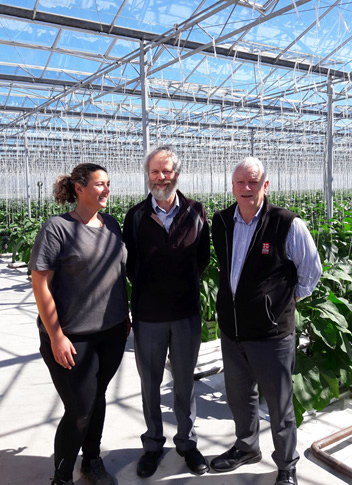 : Jana Monk of Westland Produce Ltd with GNS Science geothermal specialist and study leader Brian Carey and GNS Science business development manager Dave Jennings at the geothermally heated greenhouses of Westland Produce Ltd in Hari Hari. This operation grows eggplant and chillies all year round.