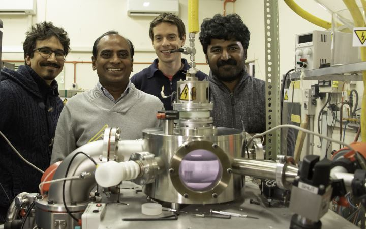 Scientists involved in the green hydrogen project at GNS Science from left Jérôme Leveneur, John Kennedy, Vedran Jovic, and Prasanth Gupta. Photo: Margaret Low, GNS Science