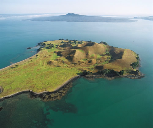 Browns Island and Rangitoto in Auckland's Hauraki Gulf are two of the 50-plus volcanoes in the Auckland Volcanic Field which have erupted in the recent geological past. Photo – Lloyd Homer, GNS Science