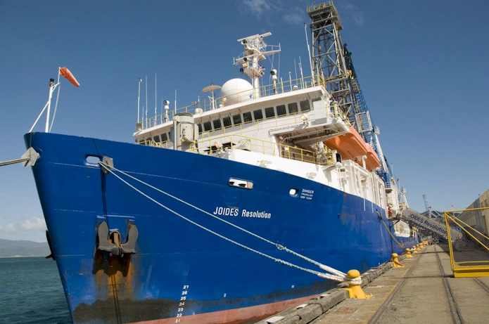 The US-operated IODP scientific drilling ship JOIDES Resolution  which last visited New Zealand in late 2009 is likely to return in  2014 or 2015 to drill several deep boreholes off the coast of Gisborne to investigate the Hikurangi subduction zone. Photo: Margaret Low, GNS Science.
