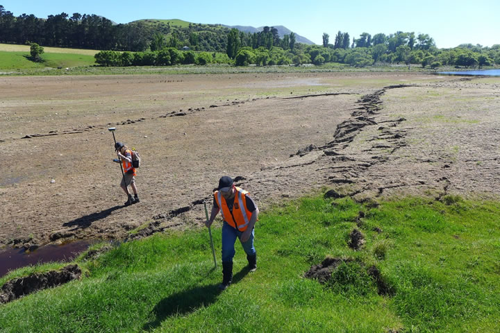 Geologists map one of the many surface ruptures in the November 2016 Kaikoura earthquake. Photo – GNS Science