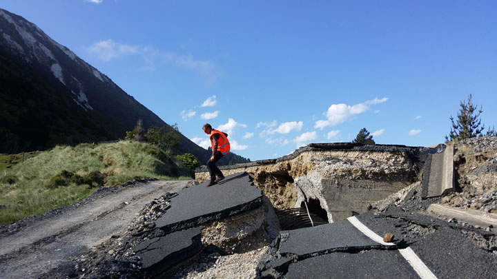 Damage to State Highway 1 near Kaikoura as a result of the magnitude 7.8 quake in November 2016. Photo - Will Reis, GNS Science