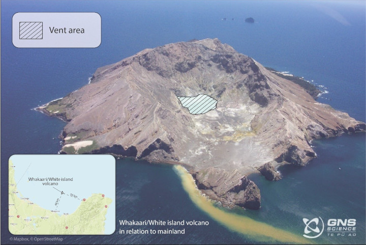 Photograph showing Whakaari/White Island with vent area marked. The distance between the edge of the crater lake and the ocean at the bottom of the image is about 700 metres. Photo taken in 2004 by Karen Britten, graphic by Danielle Charlton at University of Auckland.