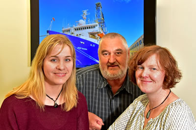 GNS Science staff Kristina Pascher, Hugh Morgans and Wanda Stratford are part of the science crew on the first of the six expeditions – they will spend two months on the ship in the Tasman Sea.   Photo – Margaret Low.