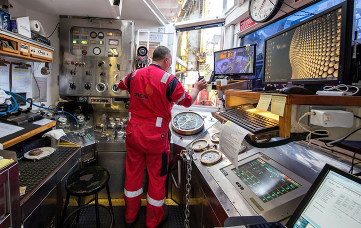 The drilling control room on the scientific research ship JOIDES Resolution. Photo - William Crawford (IODP-JRSO)