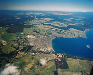 Taupo township sits at the northern end of the Taupo caldera, which has produced two of the world's most powerful  eruptions in the past 5000 years. The Taupo volcano has erupted 26 times in the past 26,000 years. Its most recent eruption was 1800 years ago. Photo: Lloyd Homer, GNS Science