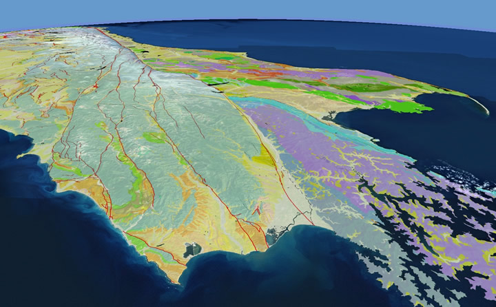 The 2018 edition of the 1:250,000 digital Geological Map of New Zealand shown in an oblique view of the northern South Island. The most conspicuous change has involved the faults layer as many were reclassed as active when they ruptured during the 2016 Kaikoura earthquake.