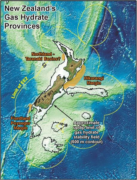 Map of New Zealand's hydrate deposits