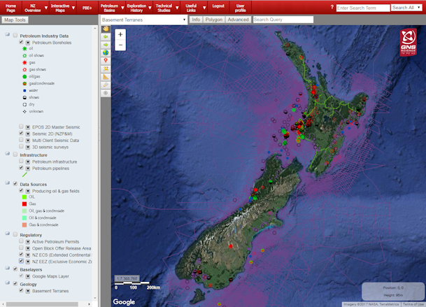 New Zealand Interactive Map.Petroleum Basin Explorer Oil And Gas Energy Futures Our