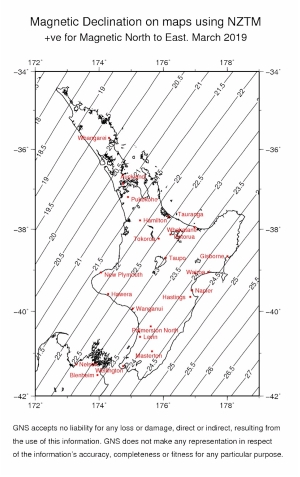 Figure 2: The difference between Magnetic North and Grid North in the North Island. Click on image to enlarge >>>