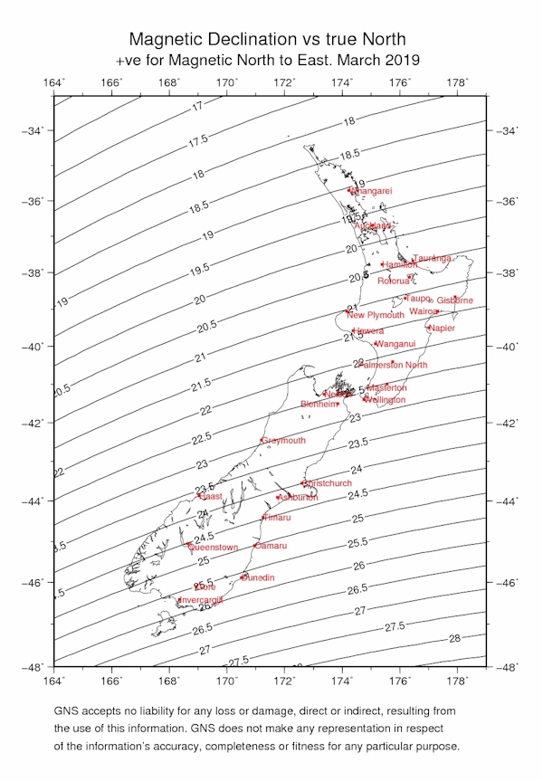 Declination around New Zealand / Earth's Magnetic Field / Land and