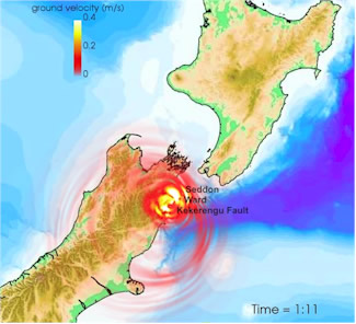Figure 3: Simulations of ground motions and tsunami wave propagation resulting from the 2016 M7.8 Kaikōura (NZ) earthquake (Kaneko et al., 2017)
