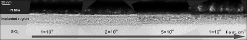 Formation of a magnetic nanostructured iron/silicon oxide surface using ion implantation.  Compound image from transmission electron micrographs for different implantation concentration.