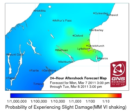 GNS Science has started producing daily aftershock forecast maps of the Canterbury region. The example illustrated shows   graduated range of probabilities of slightly damaging earthquake shaking across Canterbury for a 24-hour period. Over time, the daily colour-coded maps change as the risk from aftershocks decreases.