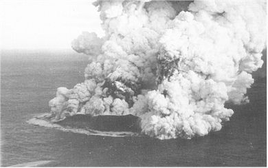 Figure 8: Phreatomagmatic eruption from the newly formed volcanic island, Surtsey, off the coast of Iceland. Further explosions create an eruption column which produces airfall tephra and a basal surge cloud. Photographs by Sólarfilma, Reykjavik, Iceland.