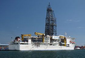 The IODP drill ship Chikyu  which set a new record in scientific drilling by drilling a borehole 850m below the seafloor in water depths of 6900m