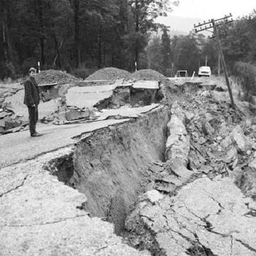 Road damage near Dee stream with failure of embankment fill. Inangahua earthquake, May 1968.