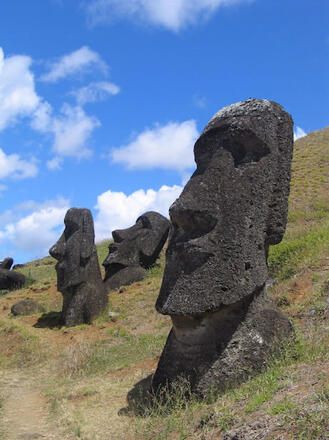 Easter Islanders were capable of impressive monument-building yet were unable to prevent the collapse of their society in pre-European times. Photo: Aurbina, Wikipedia