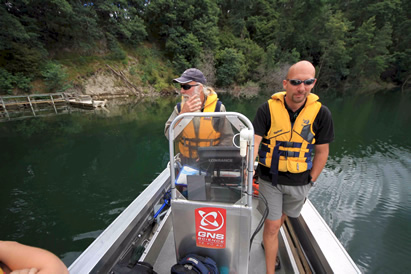 Scientists Duncan Graham and Fabio Tontini, both of GNS Science, collecting data during last week's seismic survey of Lake Rotomahana, southeast of Rotorua. Photo: Alex Young