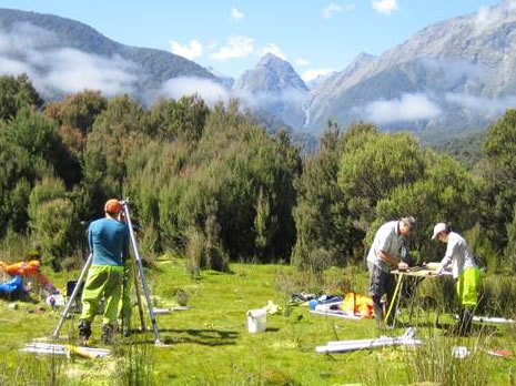 Earthquake geologists from GNS Science collecting core samples in the John O'Groats River valley in Fiordland.  Photo: Kelvin Berryman, GNS Science