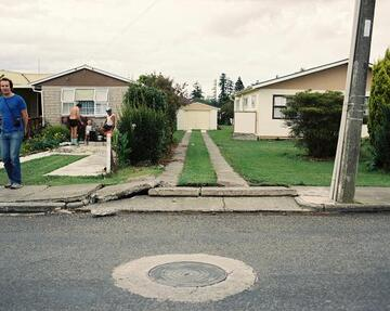 Footpath damage from March 1987 earthquake, Bay of Plenty.