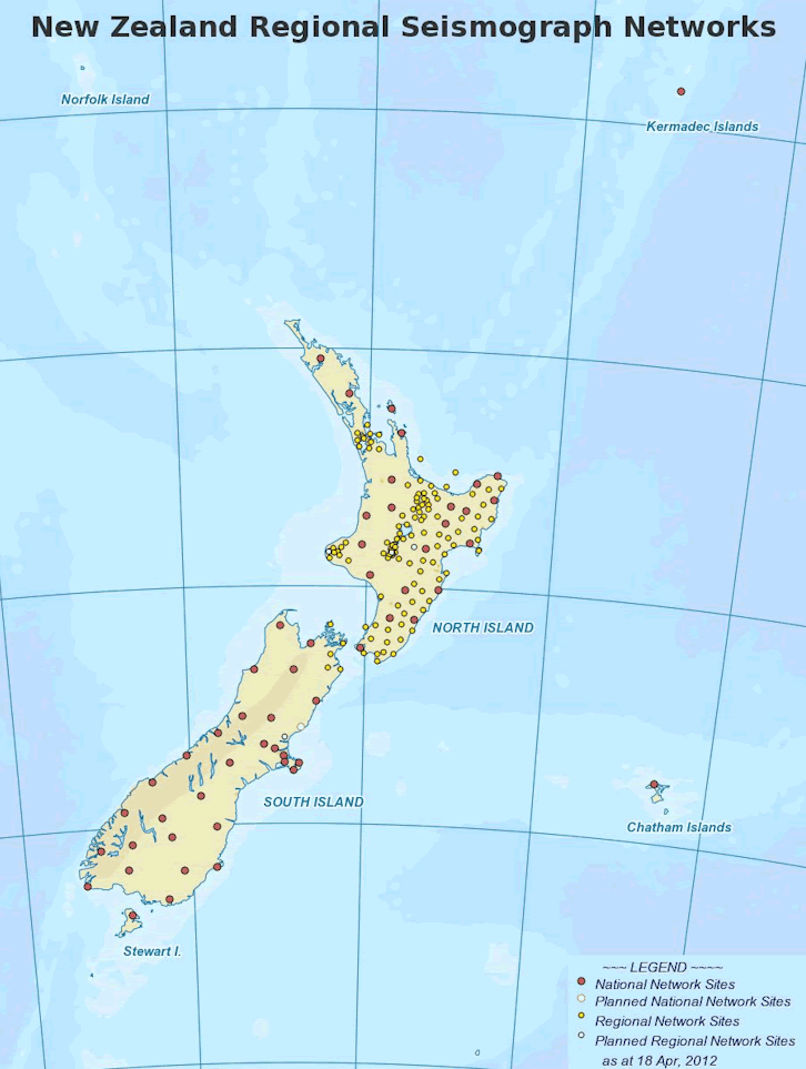 Where Are NZs Seismographs Located Seismic Activity - Where is new zealand located