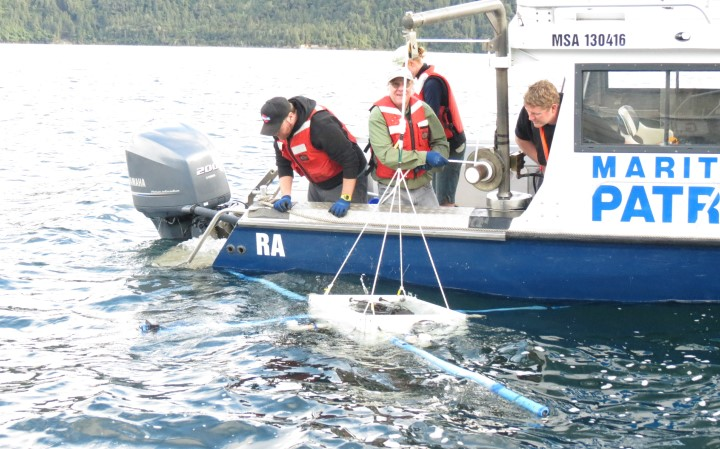 Scientists taking measurements from a boat. Photo: Brad Scott