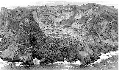 Figure 11. Curtis Island. View of the crater in 1977, looking south-east. Aerial photograph by S.Nathan.