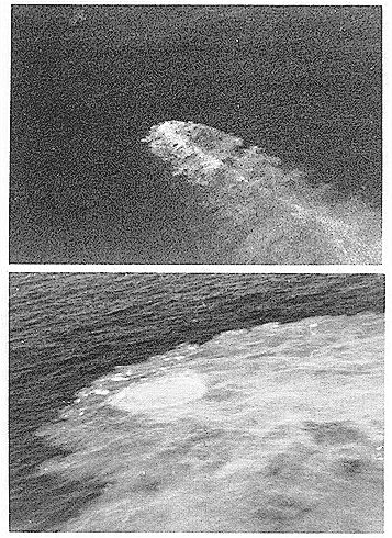 Figure 3. (a, b). Submarine eruption at Monowai Volcano in October 1977 (aerial photographs by RNZAF aircrews). The diameter of the main area of upwelling, seen in (b), is about 100 metres (see paper by F.J. Davey in Supplementary Reading).