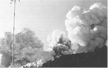 Figure 7. (a-c). Eruption at Raoul Island on 21 November 1964, seen from the Weather Station. Photographs by J A Peart.