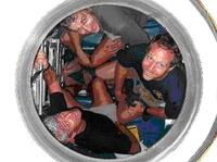 Scientists in a submarine vehicle