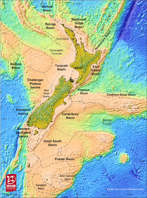 Map showing the location of sedimentary basins in New Zealand
