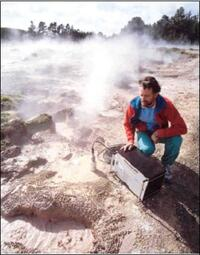 Seismograph monitoring at Craters of the Moon near the Wairakei Geothermal area.