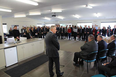 Taupo Mayor David Trewavas welcomes visitors during the opening of GNS Science's revamped geothermal and groundwater laboratories
