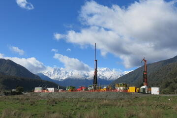 The Deep Fault Drilling Project site at Whataroa north of Franz Josef on the South Island's West Coast