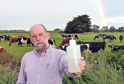 Dr Troy Baisden, of GNS Science, has found that isotope analysis of rainfall collected on farms like this one in the  Wairarapa can help spot imitators trying to claim their milk products are from New Zealand.