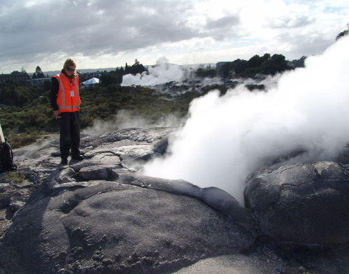 A scientist checks activity at Waikitie Geyser in Rotorua. Photo Duncan Graham GNS Science
