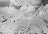 Figure 5  Continuous ash eruptions on 9 January 1979. The whole island was covered by voluminous ash deposits - Photo by B J Scott.
